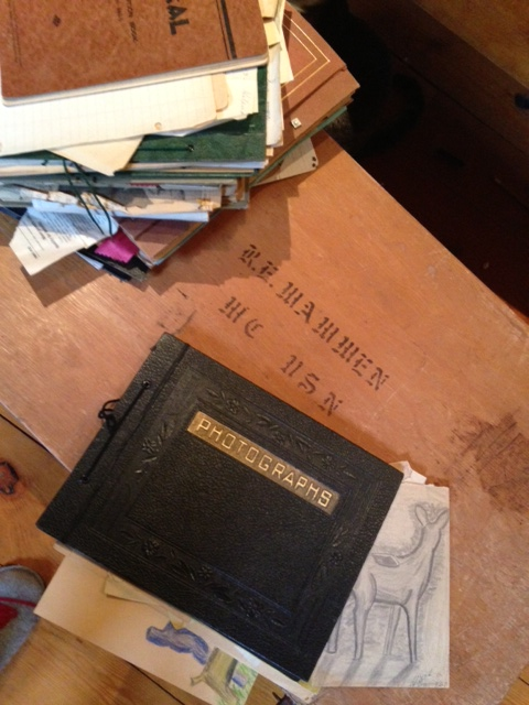 My dad's Navy trunk with some of the stuff from inside.